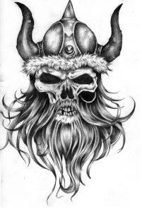 calavera vikinga plantilla tatuaje