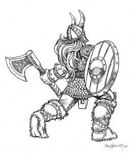 tatuaje dibujo vikingo caricatura