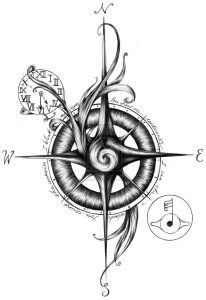 tatuaje rosa vientos vikingo celta